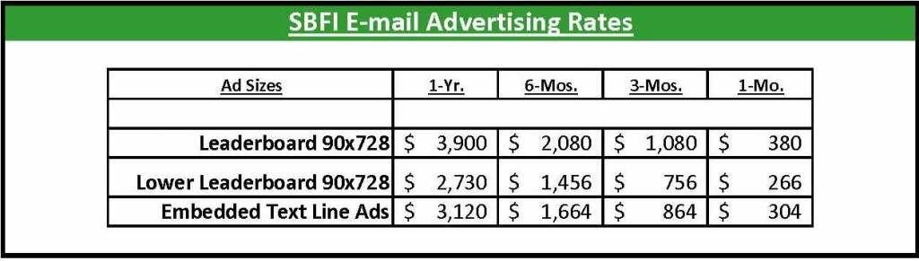 SBFI EMail Advertising Rates