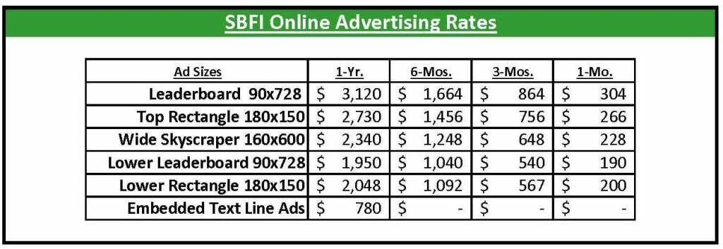 SBFI Online Advertising Rates